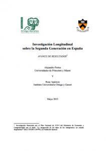 Portada del avance del estudio de investigación sobre los hijos de los inmigrantesPortada del avance del estudio de investigación sobre los hijos de los inmigrantes