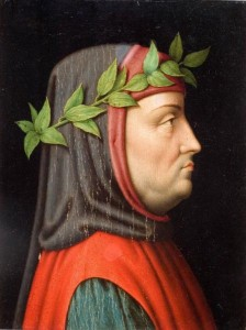 Cabeza de Franceso Petrarca de perfil.