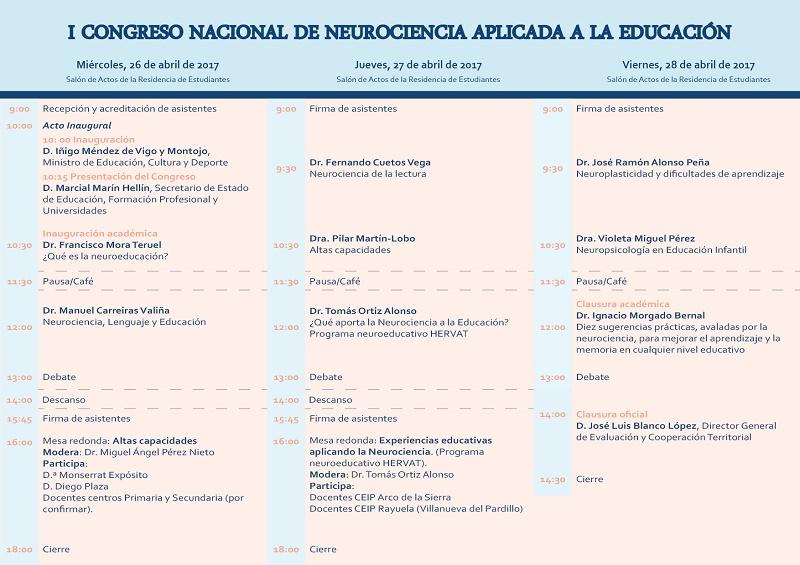 Abierto plazo de inscripción del I Congreso Nacional de Neurociencia aplicada a la Educación, desde el 1 al 31 de marzo de 2017