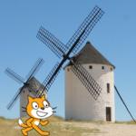 El gato de Scratch entre molinos de viento.