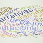 Nube de etiquetas sobre pensamiento computacional y narrativas digitales y transmedia