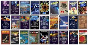 Imagen cartel portadas obras Asimov