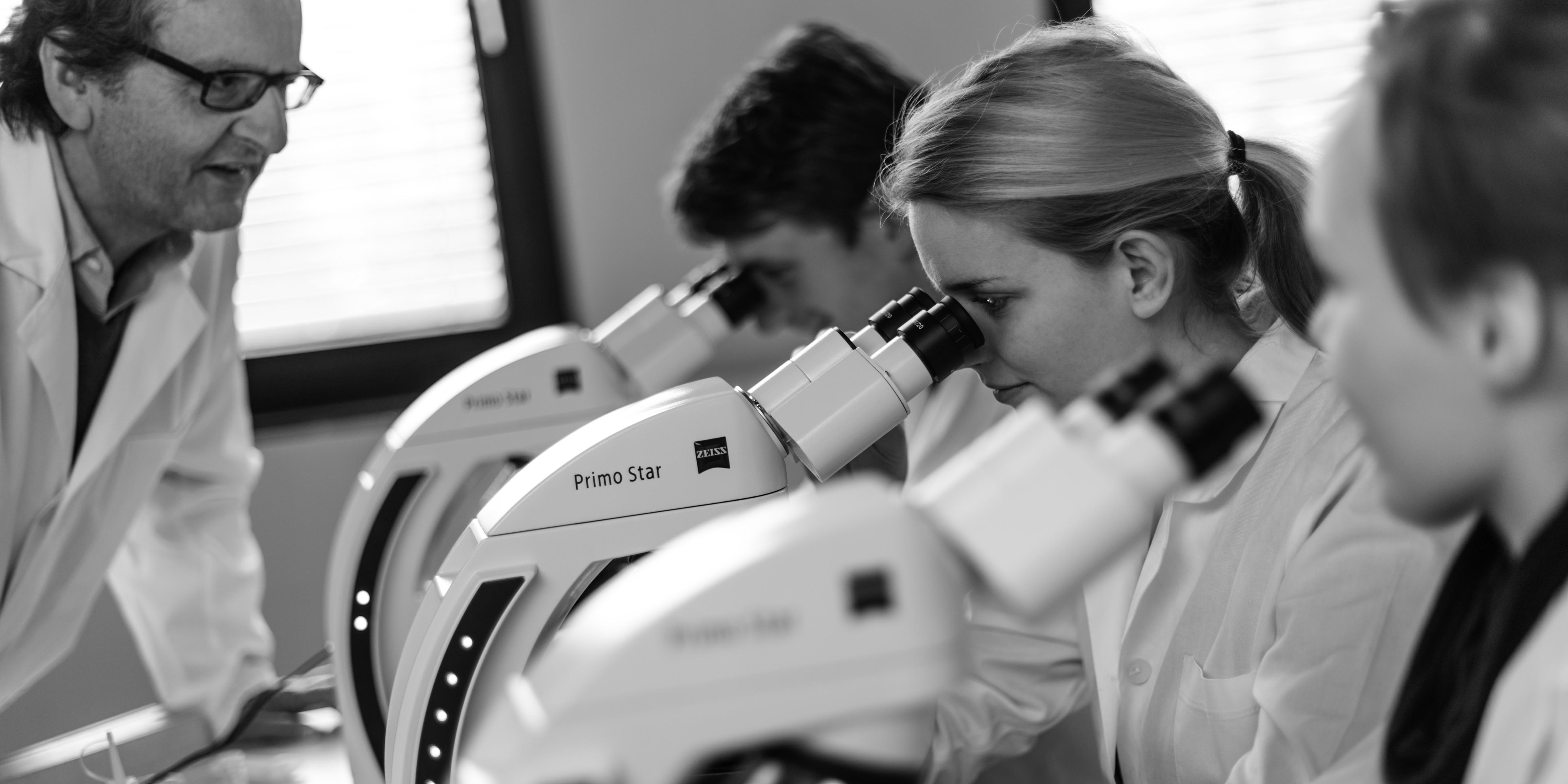 investigadores con microscopio